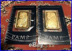 PAMP Suisse Fortuna 1 Oz Gold Bars (2 Bars) Sealed in Assay
