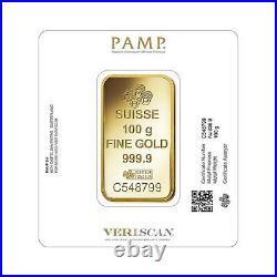 PAMP Suisse Fortuna 100 gram. 999 Fine Gold Bar SEALED IN VERISCAN ASSAY CARD