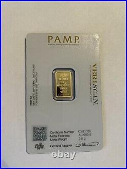 PAMP Suisse Fortuna 2.5 gram. 999 Fine Gold Bar SEALED IN VERISCAN ASSAY CARD