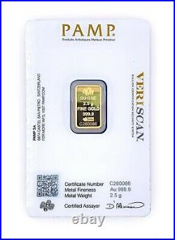 PAMP Suisse Fortuna 2.5g Gram. 9999 Fine Gold Bar SEALED IN VERISCAN ASSAY CARD