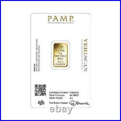 PAMP Suisse Fortuna 5 gram. 999 Fine Gold Bar SEALED IN VERISCAN ASSAY CARD