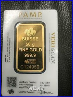 PAMP Suisse Fortuna 50G Fine Gold Bar Bullion 999.9 NEW & SEALED-FREE P&P