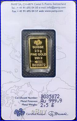PAMP Suisse Lady Fortuna 2.5 gram Gold Bar 999.9 Fine New In Sealed Assay