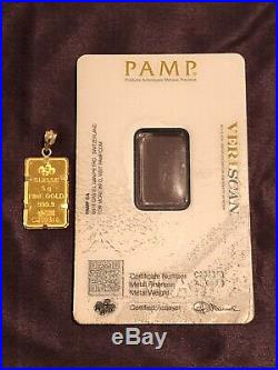 PAMP Suisse Lady Fortuna 24k. 9999 Fine 5 Gram Gold Bar in 14k Bezel Pendant