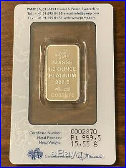 PAMP Suisse Lady Fortuna Platinum Bar 1/2 oz 999.5 Fine in Assay