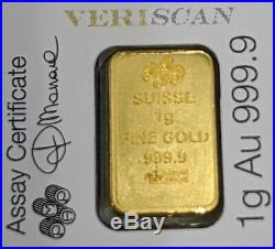 PAMP Suisse Lady Fortuna Veriscan (In Assay) Sheet of 25 1 gram bars (1g x 25)