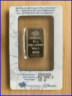 PAMP Suisse Palladium Bar 10g (Fineness 999.5) Sealed/Certified