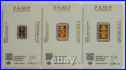 Pamp Suisse 1, 2.5, & 5 Gram. 9999 Fine Gold Fortuna Bullion Bar Collection