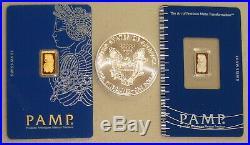 Pamp Suisse 1 Gram Gold Bar, 1 Gram Platinum Bar & 2020 Silver Eagle Metals Pack