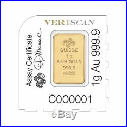 Pamp Suisse 1 Gram Gold Bar Lot of 10 in Original Mint Assay Card