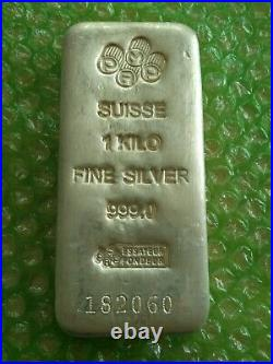 Pamp Suisse 1 Kilo (32.15 Troy Oz) Fine Silver 999.0 Bar #182060 Free Shipping