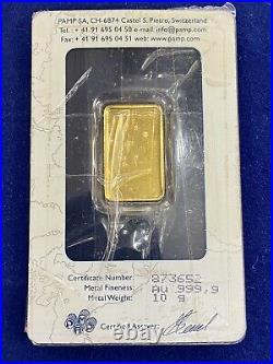 Pamp Suisse 10 Gram Fine Gold 999.9 In Assay Card Sigma Verified