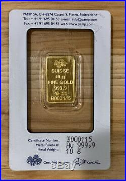Pamp Suisse 10 gram Gold Lady Liberty Bar in Assay Card