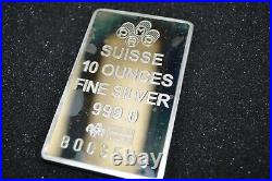 Pamp Suisse 10 oz Silver Fortuna Bar in Plastic Case with Assay Card