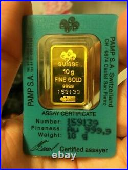 Pamp Suisse 10g pure fine gold ingot bar 999.9. Great condition. No reserve