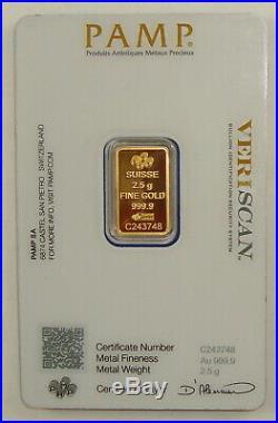 Pamp Suisse 2.5 Gram. 9999 Fine Gold Fortuna Bullion Bar