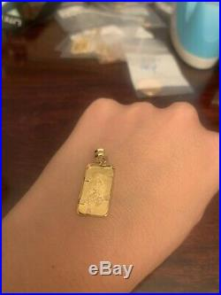 Pamp Suisse 2.5 Grams Fine Gold Bar 999.9 Pendant And 14K Gold Yellow Gold Frame