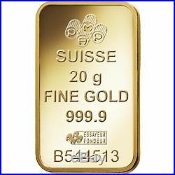 Pamp Suisse 20g Fine Gold Bar 999.9 Solid Gold Bar NEW & SEALED