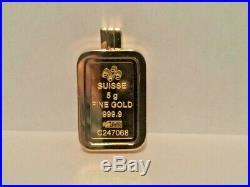 Pamp Suisse 5 grams 24k Gold Lady Fortuna Encased In Glass Pendant Bezel Locket