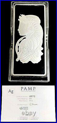 Pamp Suisse 500 Gram Silver Bar Fortuna 999 Fine Bar In Plastic Case+ Assay Card