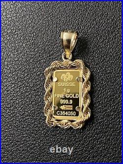 Pamp Suisse Fortuna 1 Gram Bar Pendant with 14K Gold Rope Bezel