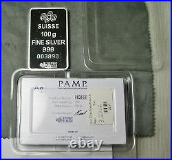 Pamp Suisse Fortuna 100 Gram 999 Silver Bar with Assay Card Serial# 3890