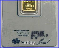 Pamp Suisse Fortuna 5 Grams. 9999 Fine Gold Bar, Low Serial # 925185