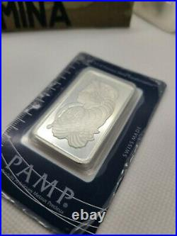 Pamp Suisse Fortuna 50 Gram 999 Silver Bar with Assay Card Serial #4488 SEALED