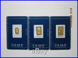 Pamp Suisse Gold fractional set 5g, 2.5g, 1g in assay cards