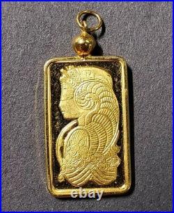 Pamp Suisse Lady Fortuna 5 Gram 9999 Fine Gold Bar Set in 14k Gold Pendant