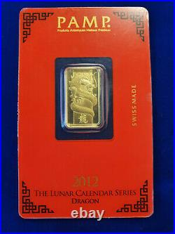 Pamp Suisse Lunar 5g. 9999 Gold Bullion Bar 2012 Year Of The Dragon Sealed