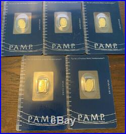 Pamp Suisse Oval 5 1 Gram Gold Bars Rose 5 Grams total RARE