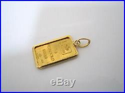 Pamp Suisse Pendant Charm 5 gm 999.9 Fine Gold Bar & 18k Bezel for Chain Necklac