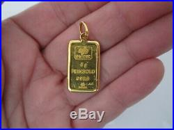 Pamp Suisse Pendant Charm 5 gm 999.9 Fine Gold Bar & 18k Bezel for Chain Necklac