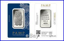 Pamp Suisse Rhodium 1 Troy Oz Bar / Ingot -sealed Assay Swiss Made