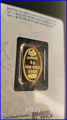 Pamp Swiss Rare Oval 5 Gram Gold Bar 999.9 Fine Gold B#79