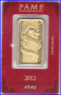 Pamp Year Of The Dragon 2012 1 oz Gold Bar 999.9 Suisse Gold Bar In Assay