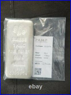 Pamp suisse fine silver 999.0, 1 kilo bar with certificate of authenticity