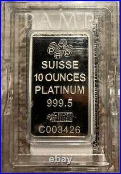 Platinum 10oz bar Suisse PAMP 999.5 Fine