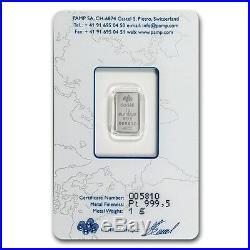 Platinum 1gr Lady Fortuna Pamp Suisse 14kt Gold Rope Pendant $155.88