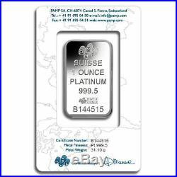 Platinum Pamp Suisse Fortuna 1 oz Bar Sealed in Certicard