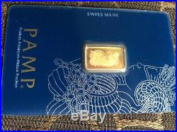 Qty, 1. 2.5 gram Gold Bar PAMP Suisse Fortuna 999.9 Fine in Sealed Assay