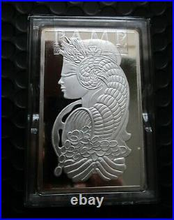 RARE PAMP SUISSE LADY FORTUNA 10 OZ SILVER BAR with CERTIFICATION SERIAL NUMBER