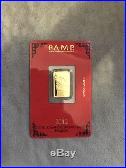 RARE! Pamp Suisse 2012 Year Of The Dragon 5 Gram 24k Gold In Assay Mint