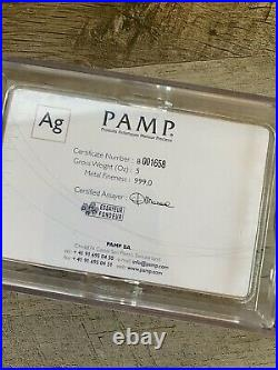 READ 5 Ounce Oz PAMP Suisse Fortuna Silver Bar Certificate Number B001658