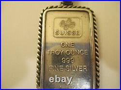Rare Pamp Suisse Honeycomb Silver bar with diamonds pendant