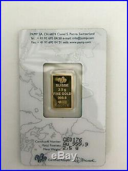 Rare Pamp Suisse Legendary Gold Rushes of the World USA (1848) 2.5 gram