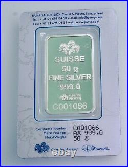 Rare Pamp Suisse Rose 50 Gram. 999 Silver Bar with Assay Card BU, SEALED