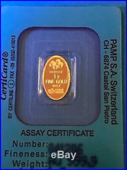 SCARCE -Pamp Suisse Oval 1 Gram GOLD BAR-INGOT Rose design GOLD DREAM Holder