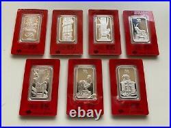 Set of 1 oz Pamp Suisse Chinese Lunar Calendar 2012-18.999 Silver Bar in Assay